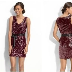 Cache Maroon Sequin Mini Dress